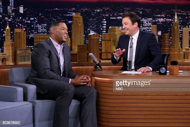 Michael Strahan during an interview with host Jimmy Fallon on July 27 2017