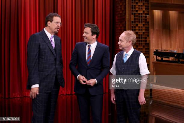 Host Jimmy Fallon with Magicians Penn Teller performing on July 28 2017
