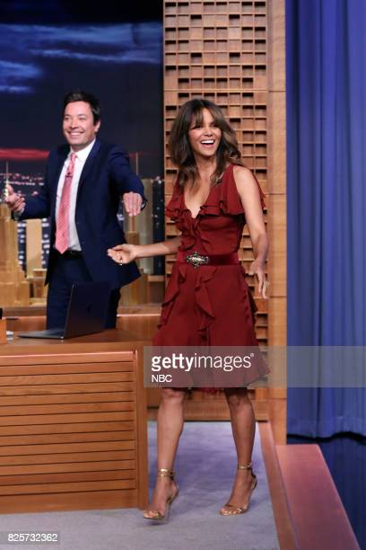 Host Jimmy Fallon with Actress Halle Berry on August 2 2017