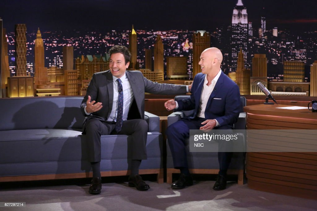 Host Jimmy Fallon meditates with Andy Puddicombe founder of 'Headspace' on August 4, 2017 --