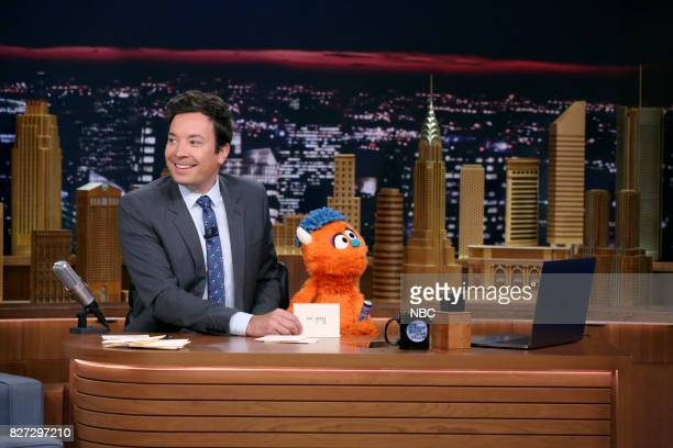 """Episode 0719 -- Pictured: Host Jimmy Fallon with Rudy during """"Thank You Notes"""" on August 4, 2017 --"""