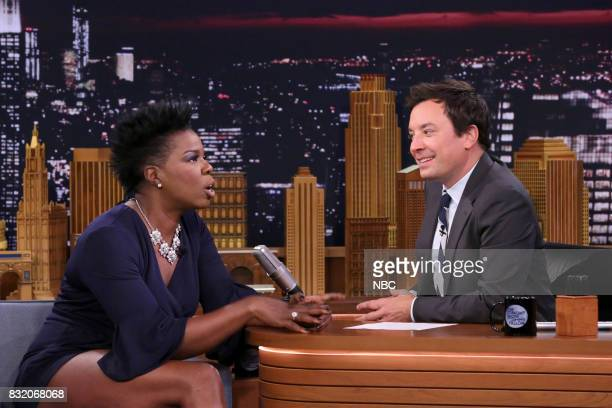 Comedian Leslie Jones during an interview with host Jimmy Fallon on August 15 2017