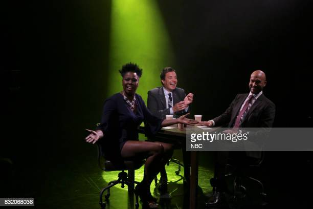 Comedian Leslie Jones host Jimmy Fallon and actor KeeganMichael Key play true confessions on August 15 2017