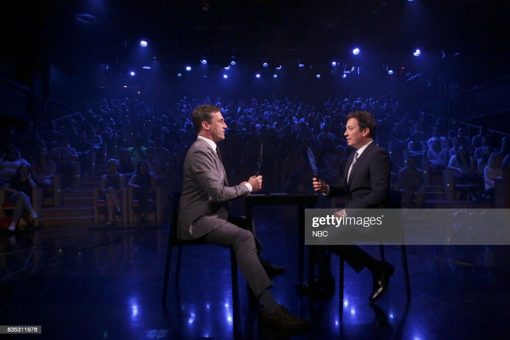 Jon Hamm with host Jimmy Fallon during 'Face It Challenge' on August 18, 2017 --