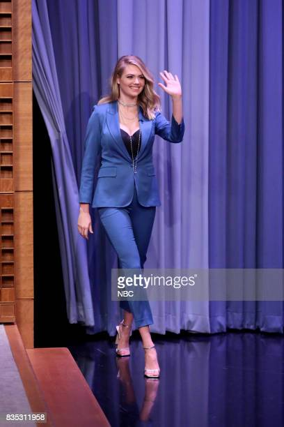 Kate Upton arrives for an interview on August 18 2017