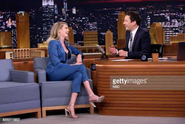 Kate Upton during an interview with host Jimmy Fallon on August 18 2017