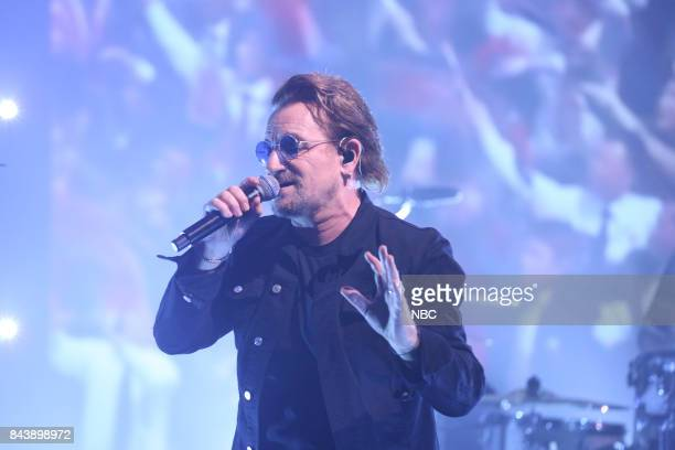 """Episode 0732 -- Pictured: Musician Bono of U2 performs """"Bullet The Blue Sky"""" on September 7, 2017 --"""