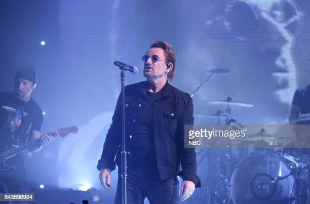 """Episode 0732 -- Pictured: Musicians The Edge and Bono of U2 perform """"Bullet The Blue Sky"""" on September 7, 2017 --"""