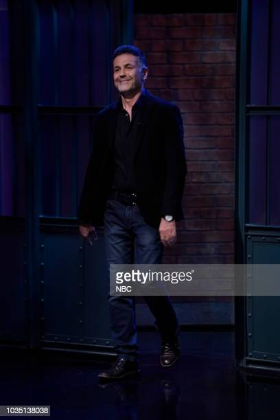 MEYERS Episode 733 Pictured Musician Sturgill Simpson talks to host Seth Meyers backstage on September 17 2018
