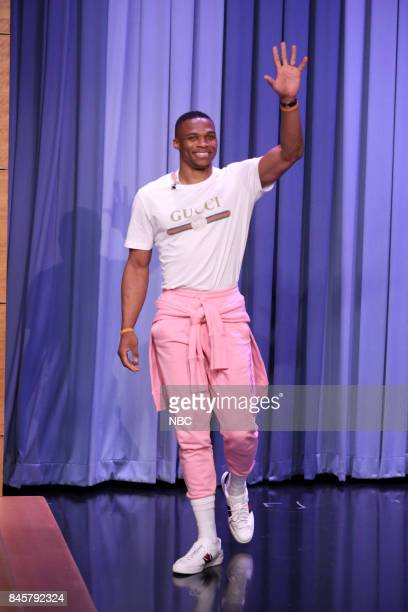 NBA player Russell Westbrook arrives on September 11 2017