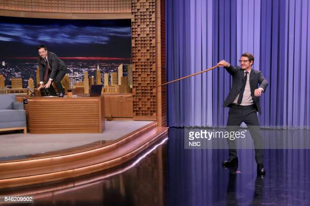 Host Jimmy Fallon with Pedro Pascal lassoing during an interview on September 12 2017