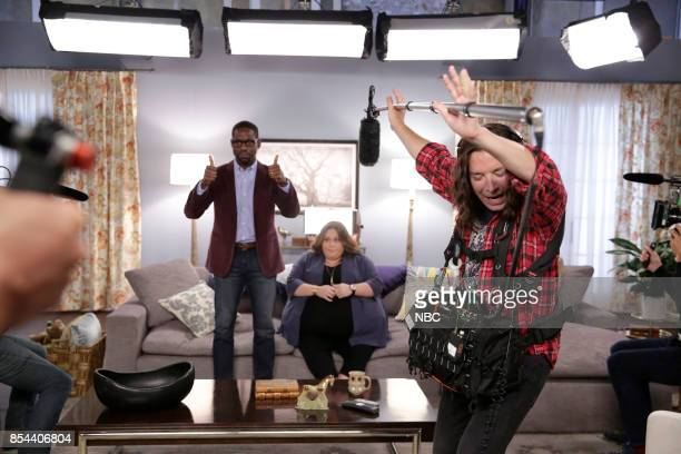 Sterling K Brown Chrissy Metz and Jimmy Fallon during ''This Is Us' Boom Operator' on September 26 2017