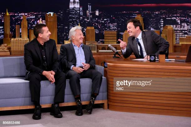 Actors Adam Sandler and Dustin Hoffman during an interview who host Jimmy Fallon on October 2 2017