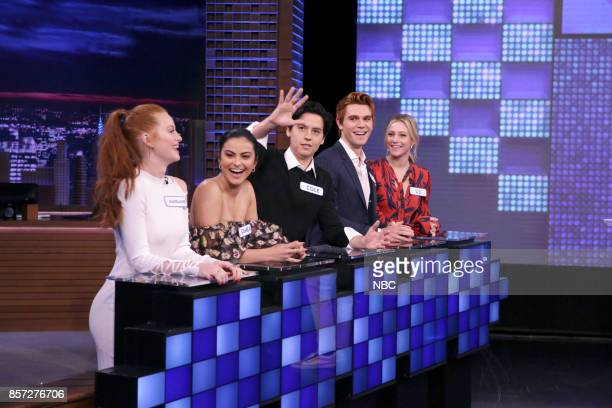 From the cast of Riverdale Madelaine Petsch Camila Mendes Cole Sprouse KJ Apa Lili Reinhart during Tonight Show Search Party on October 3 2017