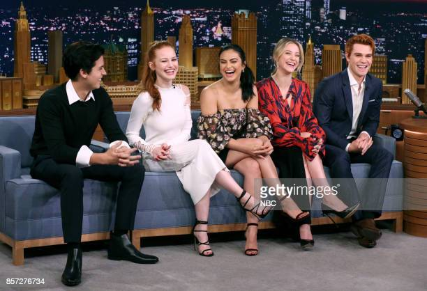 The Cast of Riverdale Cole Sprouse Madelaine Petsch Camila Mendes Lili Reinhart KJ Apa during an interview on October 3 2017