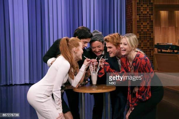 The Cast of 'Riverdale' Madelaine Petsch Cole Sprouse host Jimmy Fallon KJ Apa Lili Reinhart during an interview on October 3 2017
