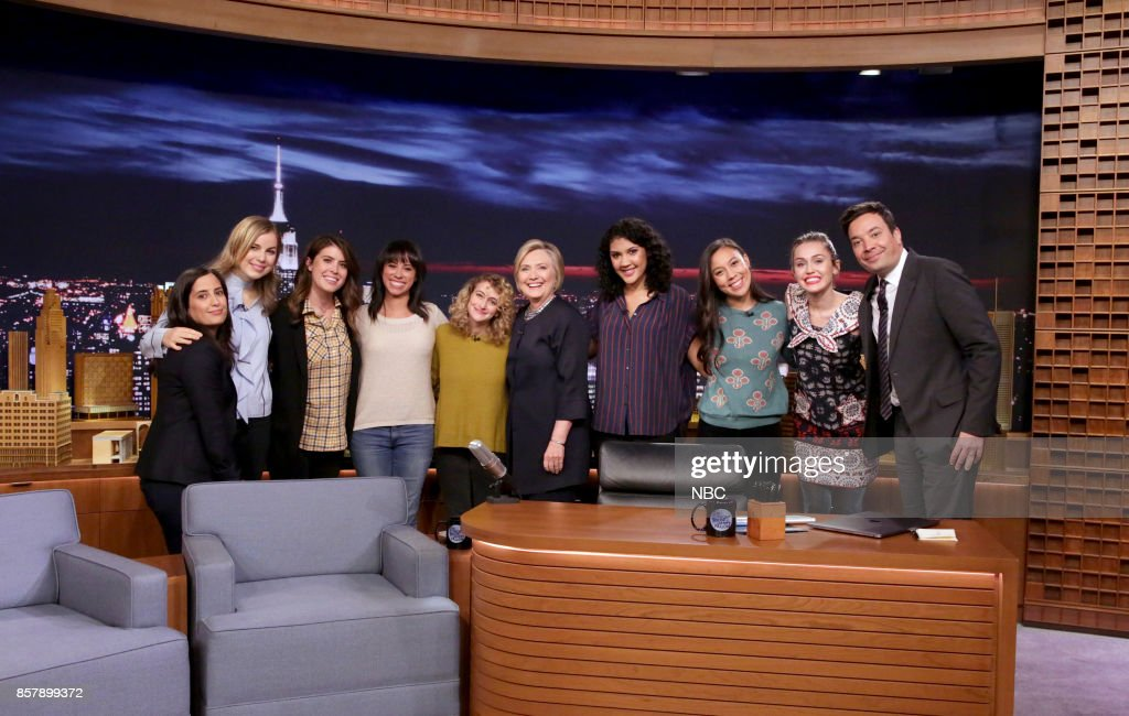 The Tonight Show Writers Albertina Rizzo, Becky Krause, Caroline Eppright, Marina Cockenberg, Jo Firestone, Hillary Rodham Clinton, Jasmine Pierce, Taryn Englehart, Miley Cyrus and Host Jimmy Fallon during 'Thank You Notes' on October 4, 2017 --