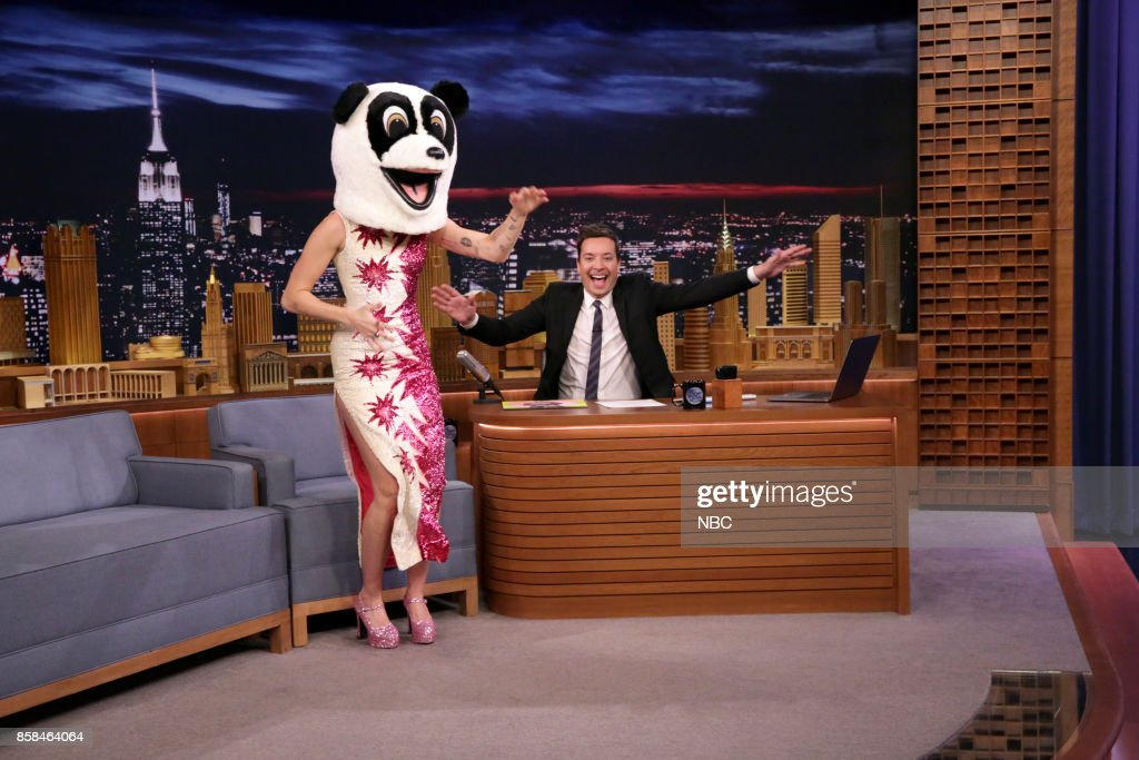 Miley Cyrus as Hastag the Panda during an interview with Host Jimmy Fallon on October 6, 2017 --