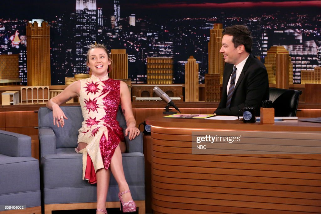 Miley Cyrus during an interview with Host Jimmy Fallon on October 6, 2017 --