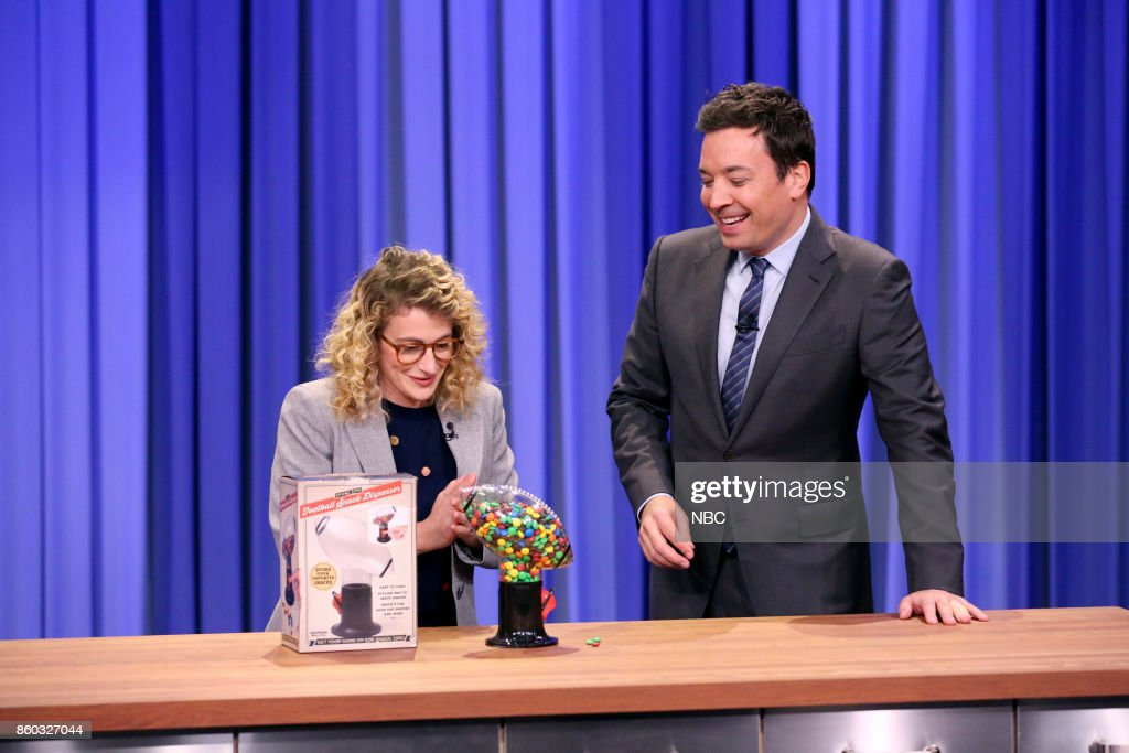 Jo Firestone with host Jimmy Fallon during 'What to Buy' on October 11, 2017 --