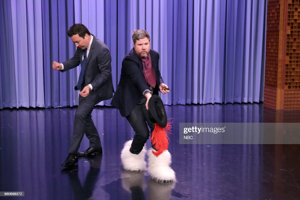 Host Jimmy Fallon with Jeopardy! Contestant Austin Rogers during an interview on October 12, 2017 --
