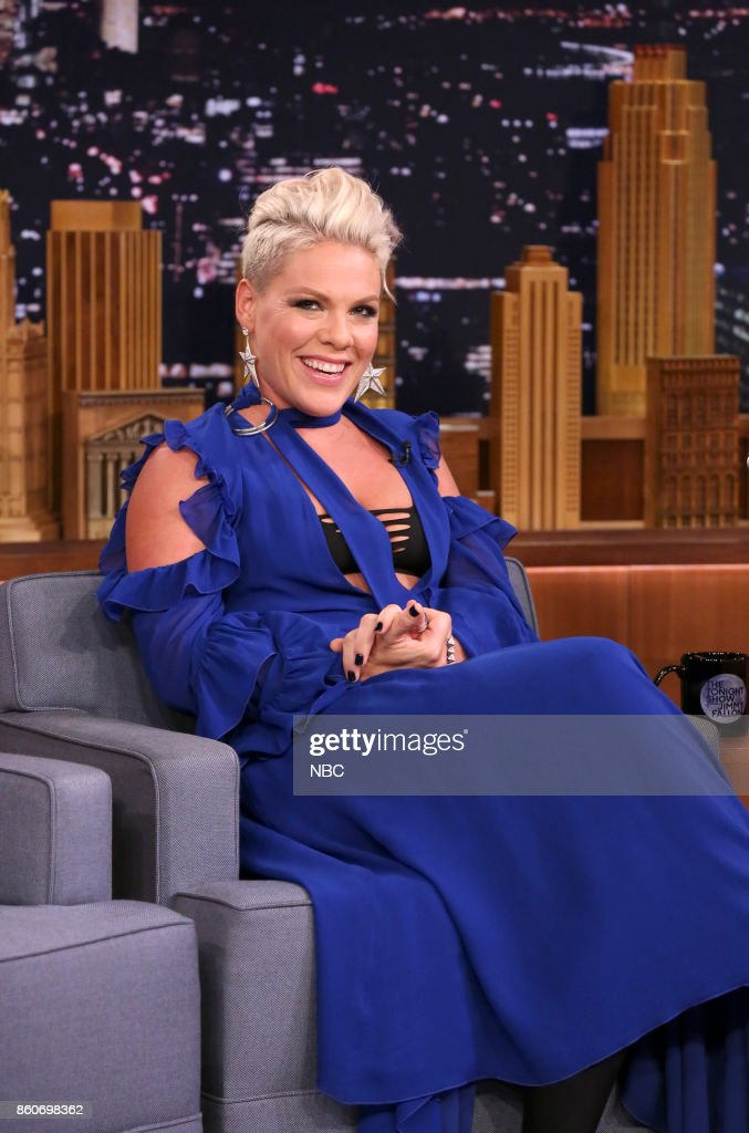 Singer P!nk during an interview on October 12, 2017 --