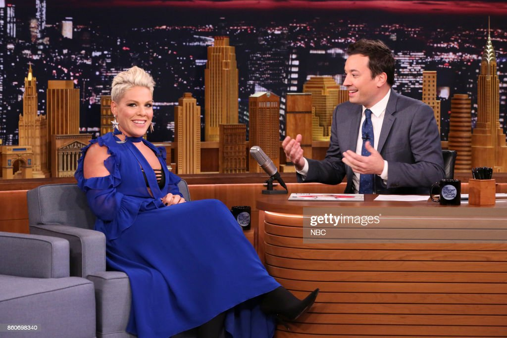 Singer P!nk during an interview with host Jimmy Fallon on October 12, 2017 --