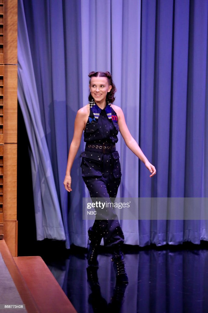 Actress Millie Bobby Brown arrives for an interview on October 31, 2017 --