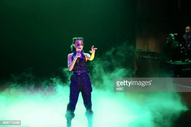 Actress Millie Bobby Brown performs ''Stranger Things' Season 1 Recap Rap' on October 31 2017