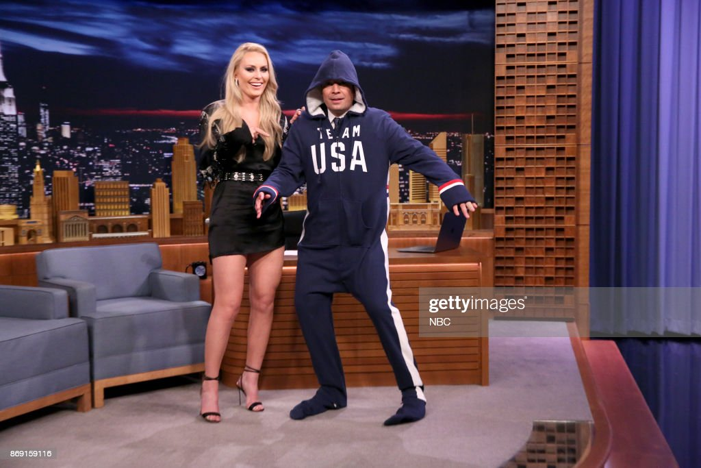 Athlete Lindsey Vonn with host Jimmy Fallon during an interview on November 1, 2017 --