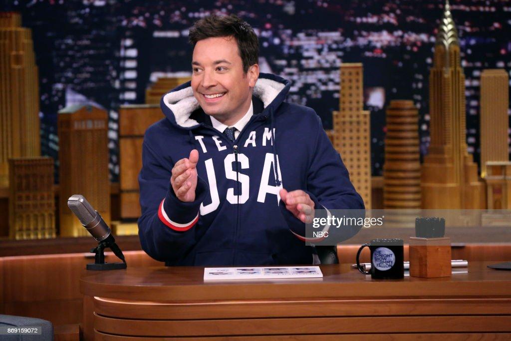 Host Jimmy Fallon at his desk on November 1, 2017 --