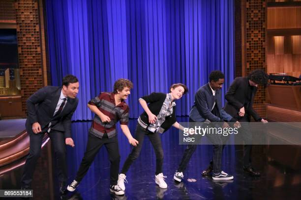 Host Jimmy Fallon Gaten Matarazzo Noah Schnapp Caleb McLaughlin Finn Wolfhard from the cast of Stranger Things during Dance Battle on November 2 2017
