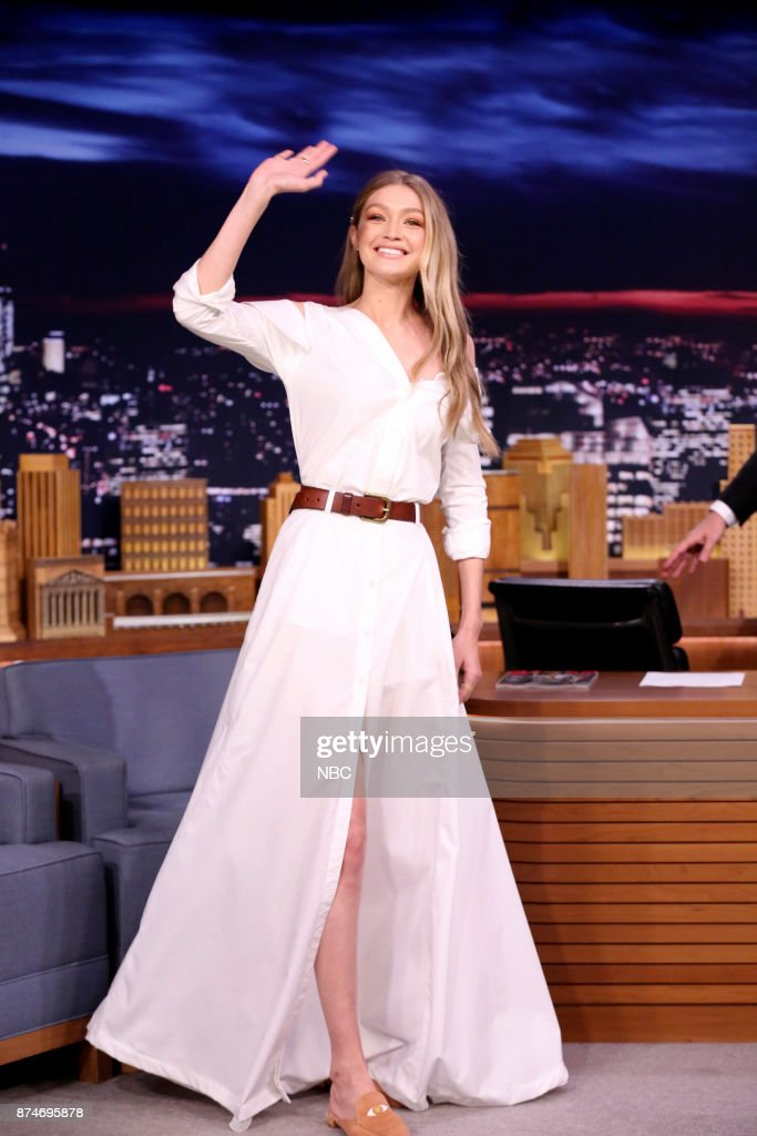 Model Gigi Hadid arrives for an interview on November 15, 2017 --