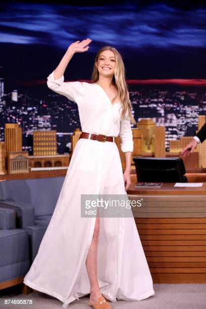 Model Gigi Hadid arrives for an interview on November 15 2017