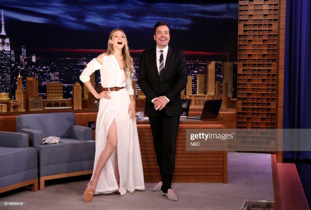 Model Gigi Hadid with host Jimmy Fallon on November 15, 2017 --