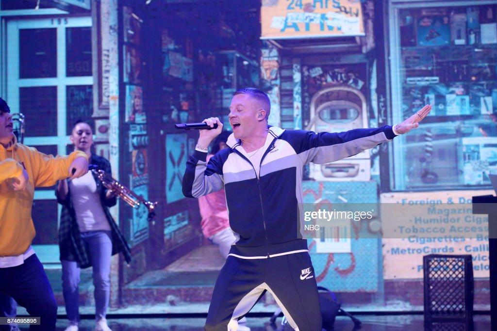 Musical Guest Macklemore performs 'Corner Store' on November 15, 2017 --
