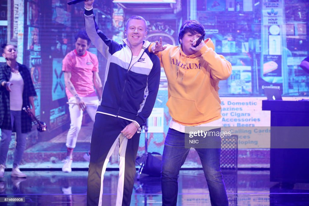 Musical Guest Macklemore performs 'Corner Store' with Travis Thompson on November 15, 2017 --