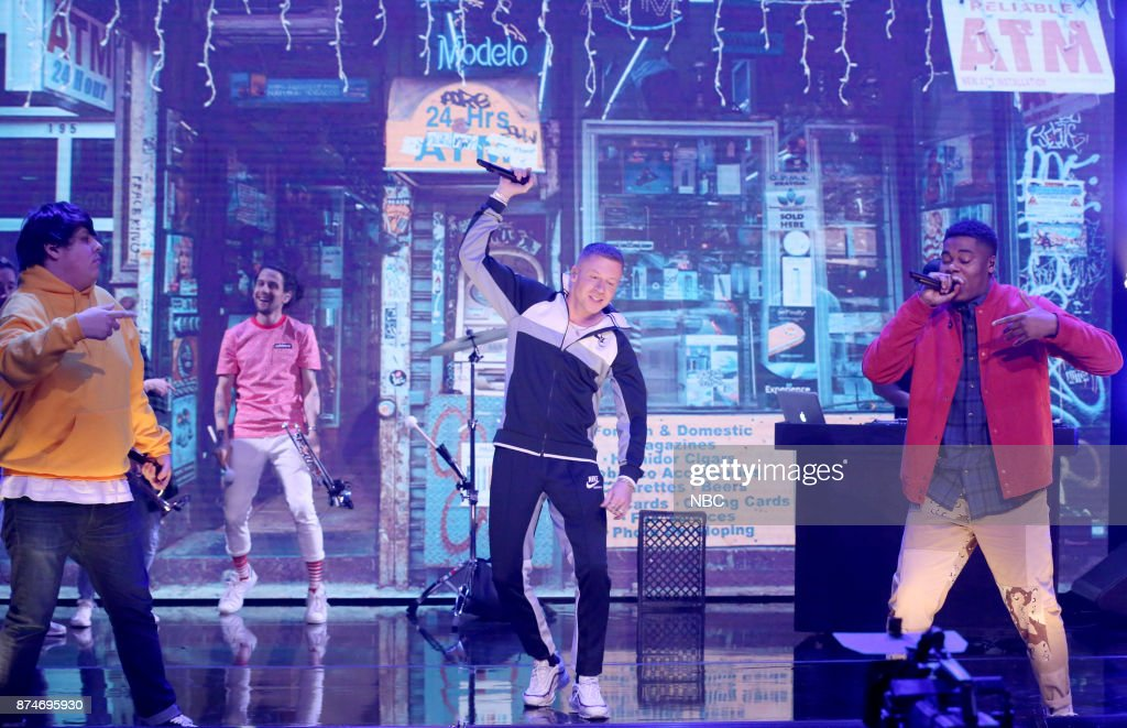Musical Guests Travis Thompson, Macklemore and Dave B perform 'Corner Store' on November 15, 2017 --