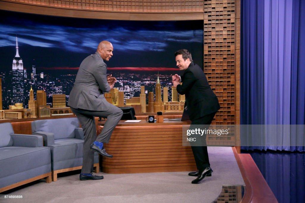Professional Athlete Darryl Strawberry with host Jimmy Fallon on November 15, 2017 --