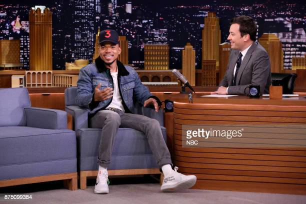 Chance the Rapper during an interview with host Jimmy Fallon on November 16 2017