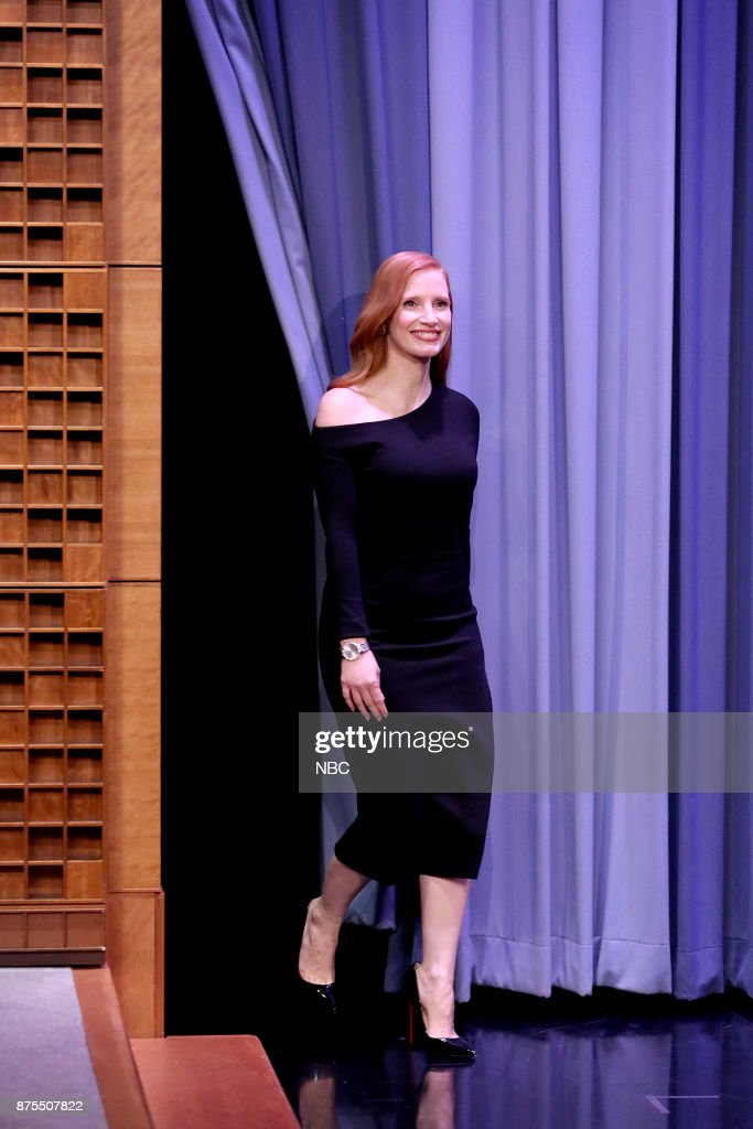 Actress Jessica Chastain arrives for an interview on November 17, 2017 --