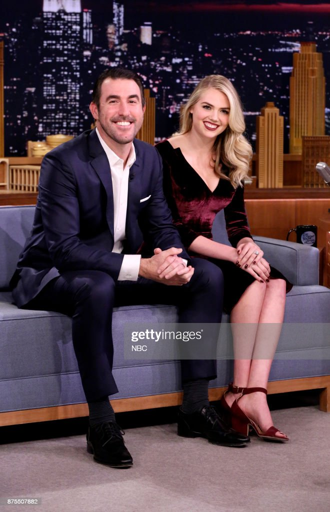 Athlete Justin Verlander, Model/Actress Kate Upton during an interview on November 17, 2017 --