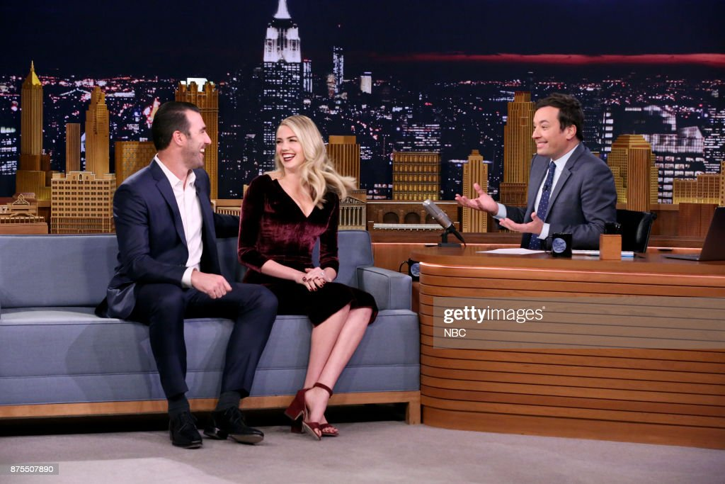 Athlete Justin Verlander, Model/Actress Kate Upton during an interview with Host Jimmy Fallon on November 17, 2017 --