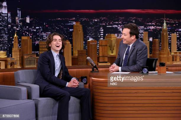 Timothée Chalamet during an interview with host Jimmy Fallon on November 17 2017