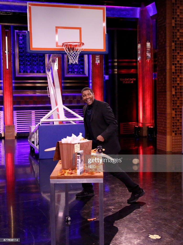 Actor Denzel Washington during 'Random Object Shootout' on November 22, 2017 --