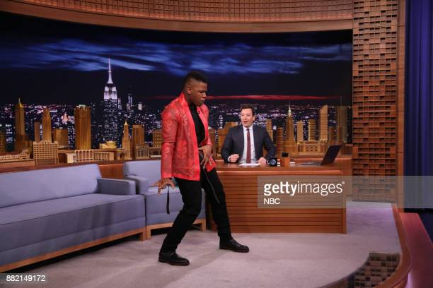Actor John Boyega during an interview with host Jimmy Fallon on November 29 2017