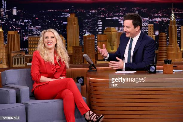 Comedian Kate McKinnon during an interview with host Jimmy Fallon on December 5 2017