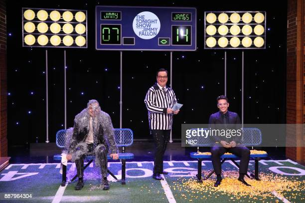 Actor Host Jimmy Fallon Announcer Steve Higgins and Actor James Franco during 'Cooler Heads' on December 7 2017