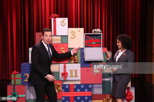 Host Jimmy Fallon during '12 Days of Christmas Sweaters' on December 7 2017