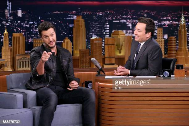 Singer Luke Bryan with host Jimmy Fallon during an interview on December 8 2017